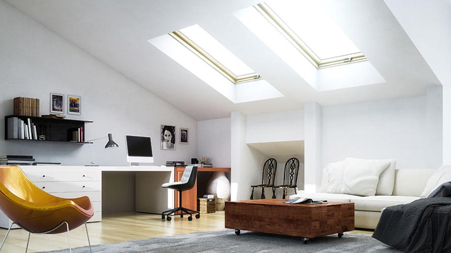 Loft conversion - modern style with skylights