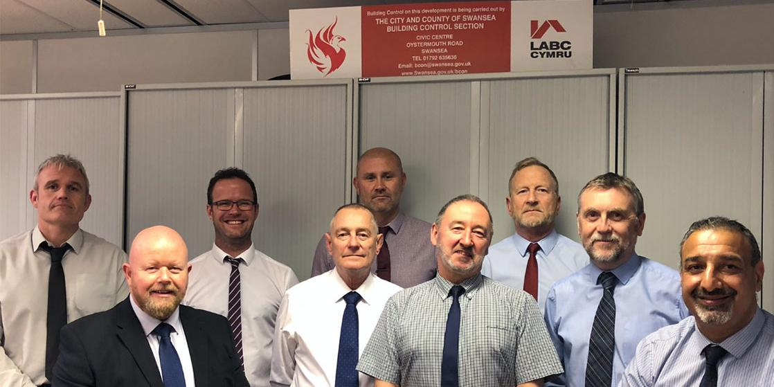 Swansea City Council building control team with Peter Richards
